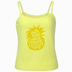 Cute Pineapple Yellow Fruite Yellow Spaghetti Tank by Mariart
