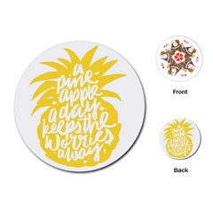 Cute Pineapple Yellow Fruite Playing Cards (round)  by Mariart