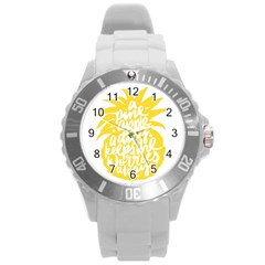 Cute Pineapple Yellow Fruite Round Plastic Sport Watch (l) by Mariart