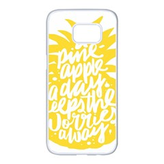 Cute Pineapple Yellow Fruite Samsung Galaxy S7 Edge White Seamless Case by Mariart