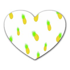 Cute Pineapple Fruite Yellow Green Heart Mousepads by Mariart