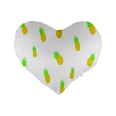 Cute Pineapple Fruite Yellow Green Standard 16  Premium Flano Heart Shape Cushions by Mariart