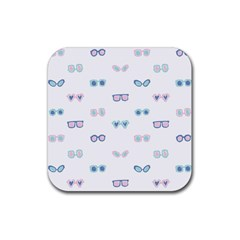 Cute Sexy Funny Sunglasses Kids Pink Blue Rubber Coaster (square)