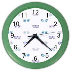 Cute Sexy Funny Sunglasses Kids Pink Blue Color Wall Clocks by Mariart