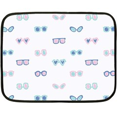 Cute Sexy Funny Sunglasses Kids Pink Blue Double Sided Fleece Blanket (mini)  by Mariart