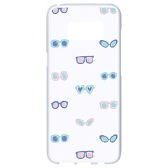 Cute Sexy Funny Sunglasses Kids Pink Blue Samsung Galaxy S8 White Seamless Case by Mariart