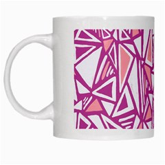 Conversational Triangles Pink White White Mugs by Mariart