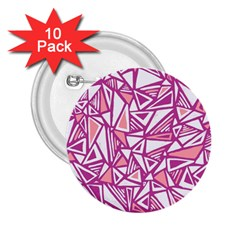 Conversational Triangles Pink White 2 25  Buttons (10 Pack)