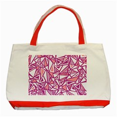 Conversational Triangles Pink White Classic Tote Bag (red)