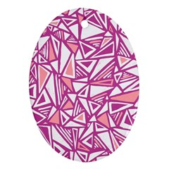 Conversational Triangles Pink White Oval Ornament (two Sides) by Mariart