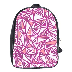 Conversational Triangles Pink White School Bag (large)