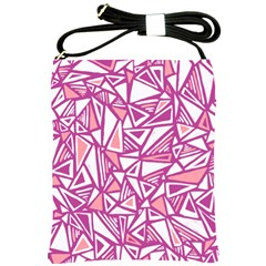 Conversational Triangles Pink White Shoulder Sling Bags