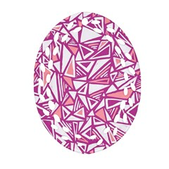 Conversational Triangles Pink White Oval Filigree Ornament (two Sides) by Mariart