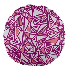 Conversational Triangles Pink White Large 18  Premium Round Cushions by Mariart