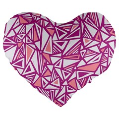 Conversational Triangles Pink White Large 19  Premium Heart Shape Cushions by Mariart