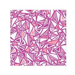 Conversational Triangles Pink White Small Satin Scarf (square) by Mariart