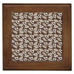 Dried Leaves Grey White Camuflage Summer Framed Tiles by Mariart