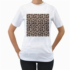 Dried Leaves Grey White Camuflage Summer Women s T-shirt (white) (two Sided) by Mariart