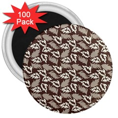 Dried Leaves Grey White Camuflage Summer 3  Magnets (100 Pack) by Mariart