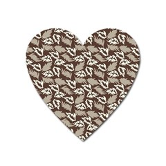 Dried Leaves Grey White Camuflage Summer Heart Magnet by Mariart