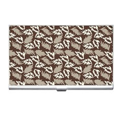 Dried Leaves Grey White Camuflage Summer Business Card Holders by Mariart