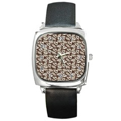 Dried Leaves Grey White Camuflage Summer Square Metal Watch by Mariart