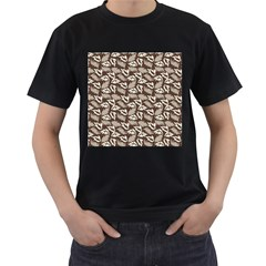 Dried Leaves Grey White Camuflage Summer Men s T Shirt (black) (two Sided) by Mariart