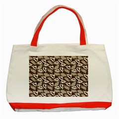 Dried Leaves Grey White Camuflage Summer Classic Tote Bag (red) by Mariart