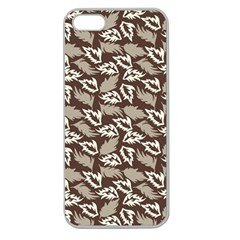 Dried Leaves Grey White Camuflage Summer Apple Seamless Iphone 5 Case (clear) by Mariart