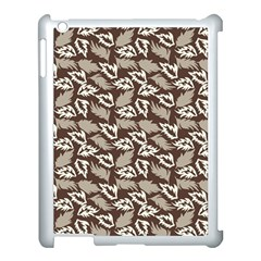 Dried Leaves Grey White Camuflage Summer Apple Ipad 3/4 Case (white) by Mariart