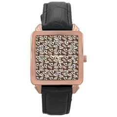 Dried Leaves Grey White Camuflage Summer Rose Gold Leather Watch