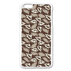 Dried Leaves Grey White Camuflage Summer Apple Iphone 6 Plus/6s Plus Enamel White Case by Mariart