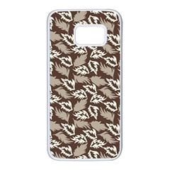 Dried Leaves Grey White Camuflage Summer Samsung Galaxy S7 White Seamless Case by Mariart