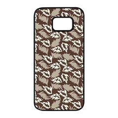 Dried Leaves Grey White Camuflage Summer Samsung Galaxy S7 Edge Black Seamless Case by Mariart