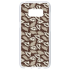 Dried Leaves Grey White Camuflage Summer Samsung Galaxy S8 White Seamless Case by Mariart
