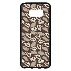 Dried Leaves Grey White Camuflage Summer Samsung Galaxy S8 Plus Black Seamless Case by Mariart