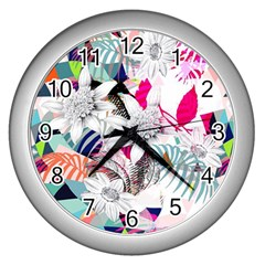 Flower Graphic Pattern Floral Wall Clocks (silver)  by Mariart