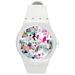Flower Graphic Pattern Floral Round Plastic Sport Watch (m) by Mariart