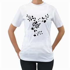 Flower Rose Black Sexy Women s T-shirt (white) (two Sided) by Mariart