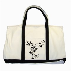 Flower Rose Black Sexy Two Tone Tote Bag