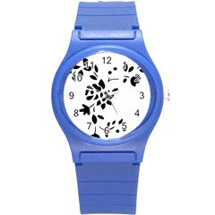 Flower Rose Black Sexy Round Plastic Sport Watch (s) by Mariart