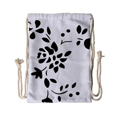 Flower Rose Black Sexy Drawstring Bag (small) by Mariart