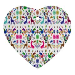 Birds Fish Flowers Floral Star Blue White Sexy Animals Beauty Rainbow Pink Purple Blue Green Orange Heart Ornament (two Sides) by Mariart
