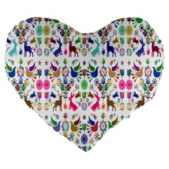 Birds Fish Flowers Floral Star Blue White Sexy Animals Beauty Rainbow Pink Purple Blue Green Orange Large 19  Premium Flano Heart Shape Cushions