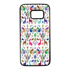 Birds Fish Flowers Floral Star Blue White Sexy Animals Beauty Rainbow Pink Purple Blue Green Orange Samsung Galaxy S7 Black Seamless Case by Mariart