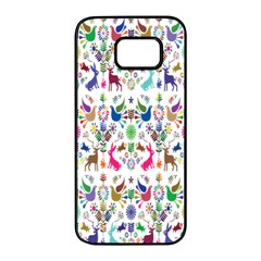 Birds Fish Flowers Floral Star Blue White Sexy Animals Beauty Rainbow Pink Purple Blue Green Orange Samsung Galaxy S7 Edge Black Seamless Case by Mariart