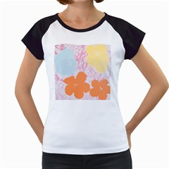 Flower Sunflower Floral Pink Orange Beauty Blue Yellow Women s Cap Sleeve T by Mariart