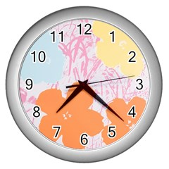 Flower Sunflower Floral Pink Orange Beauty Blue Yellow Wall Clocks (silver)  by Mariart