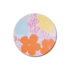 Flower Sunflower Floral Pink Orange Beauty Blue Yellow Rubber Coaster (round)  by Mariart