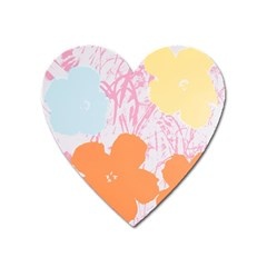 Flower Sunflower Floral Pink Orange Beauty Blue Yellow Heart Magnet by Mariart